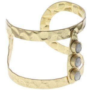 Lydell beaten gold and semi precious stone cuff